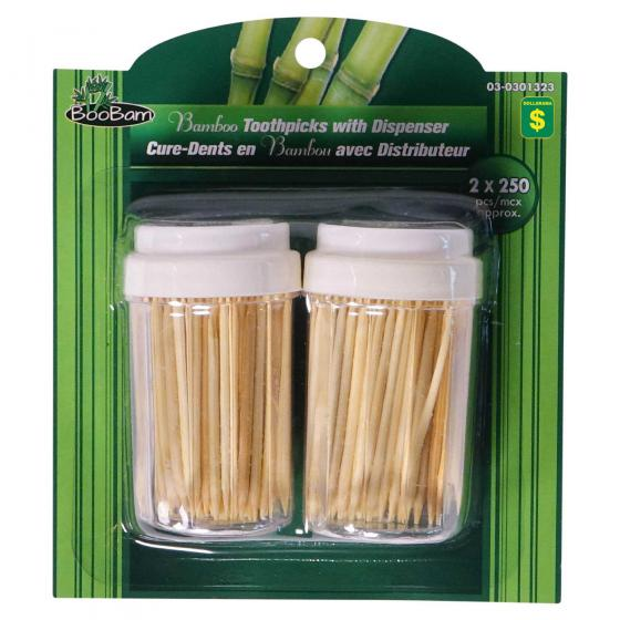 Bamboo Toothpicks with Dispensers 500PK