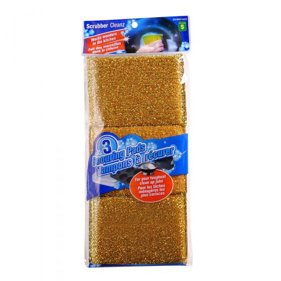 Metallic Scouring Pads 3PK (Assorted Colours)