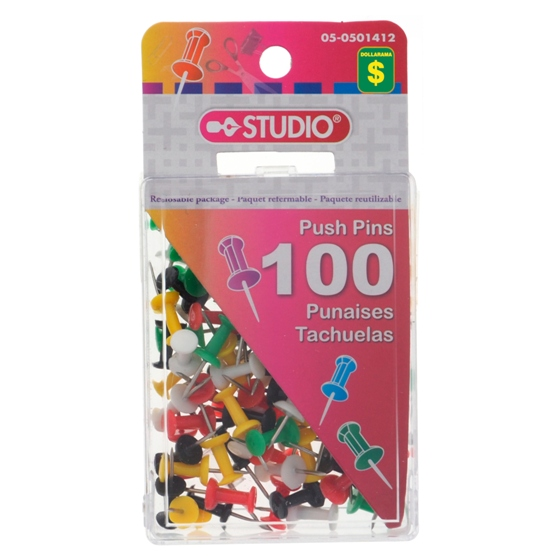 100 Push Pins (Assorted Colours)