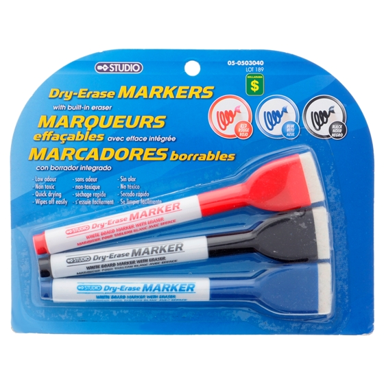Dry-Erase Markers with Built-in Eraser 3PK (Assorted Colors)