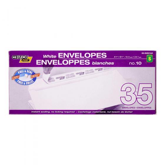 Pull & Seal White Envelopes, no.10, 35PK