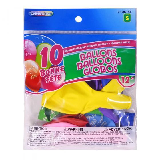 """12"""" 'Bonne Fête' Balloons 10PK (Assorted Colours)"""