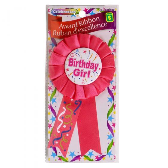 Happy Birthday Award Ribbon (Assorted Colours)