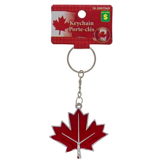 Red maple leaf Canada keychain