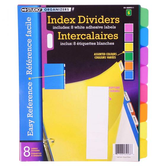 Index Dividers 8PK (Assorted Colours)