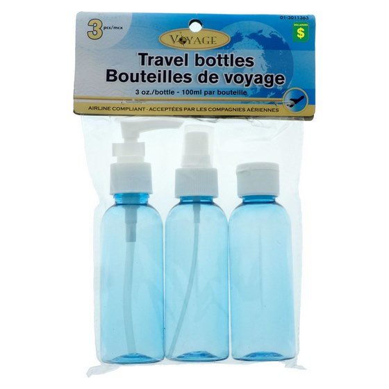 3 Travel Bottles (Assorted Colours)