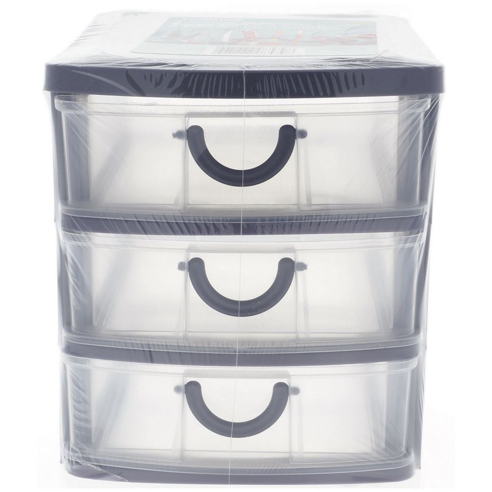 3 Drawer Organizer With Handles (Assorted Colours)