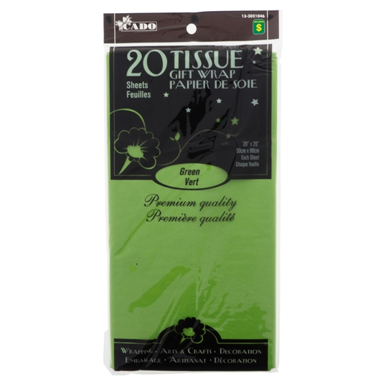 20 Sheets Green Tissue Gift Wrap