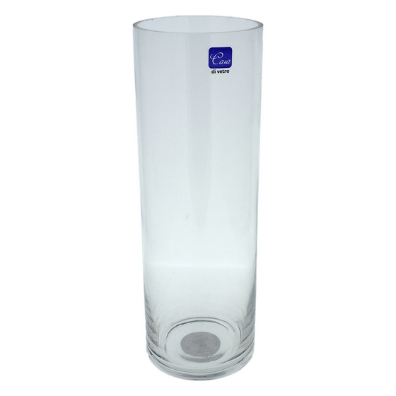 "Cylindrical Clear 12"" Glass Vase"