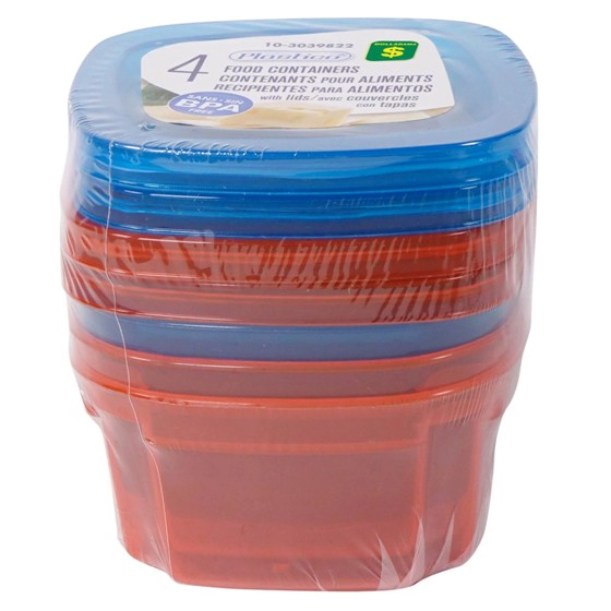 Food Containers 4PK (Assorted Colours)