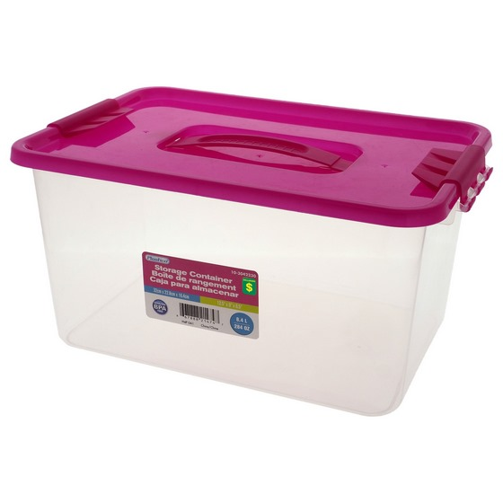 8.4L Storage box with clips on lid