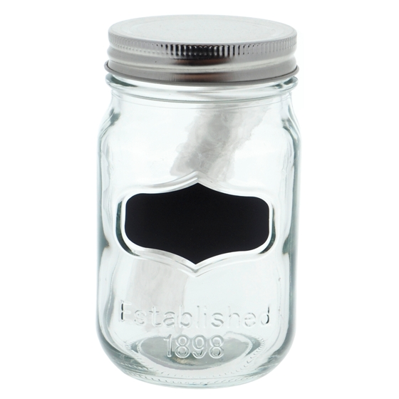 Glass Storage Jar with Metal Lid and Chalk Label (Assorted Colours)