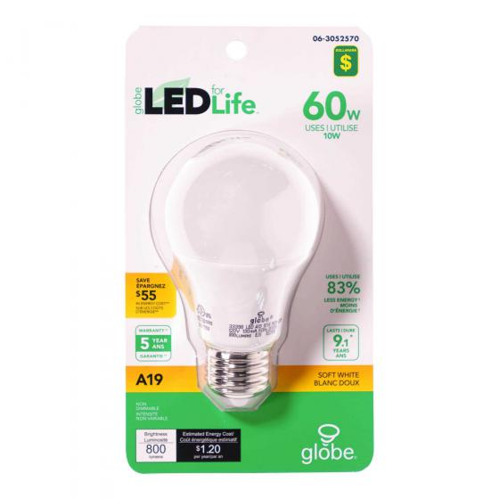 A19 60W LED Soft White Light bulb