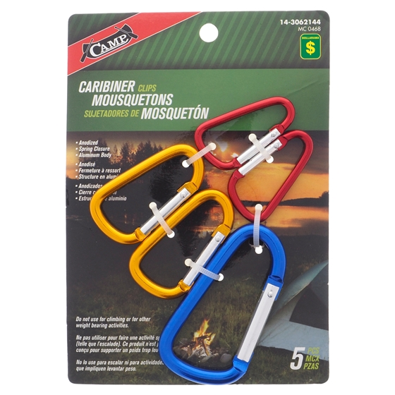 5PK Aluminum Camping Carabiner Set