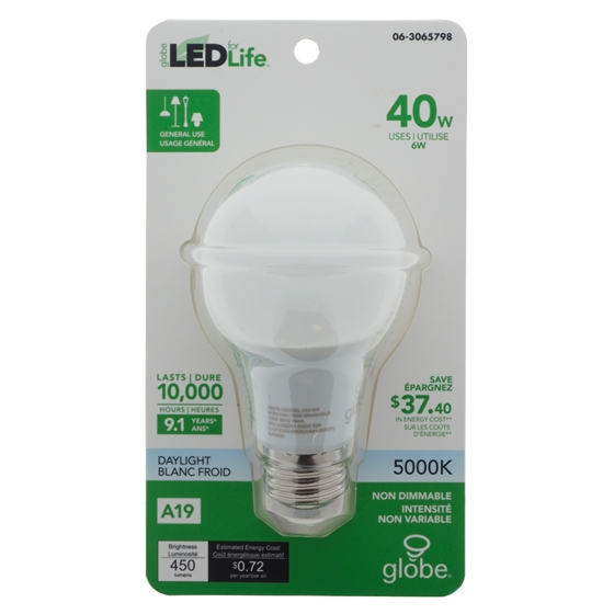 LED A19 40 Bulb 5000k - White