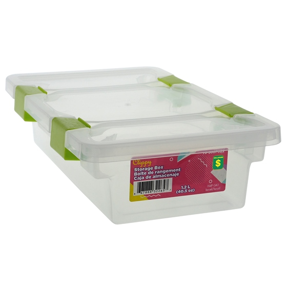 1.2L Storage box with clips on lid