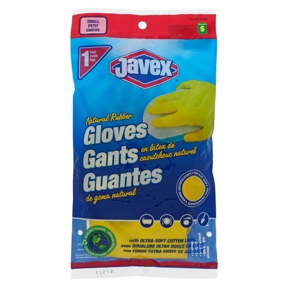 1 Pair Natural Rubber Dish Gloves, Small