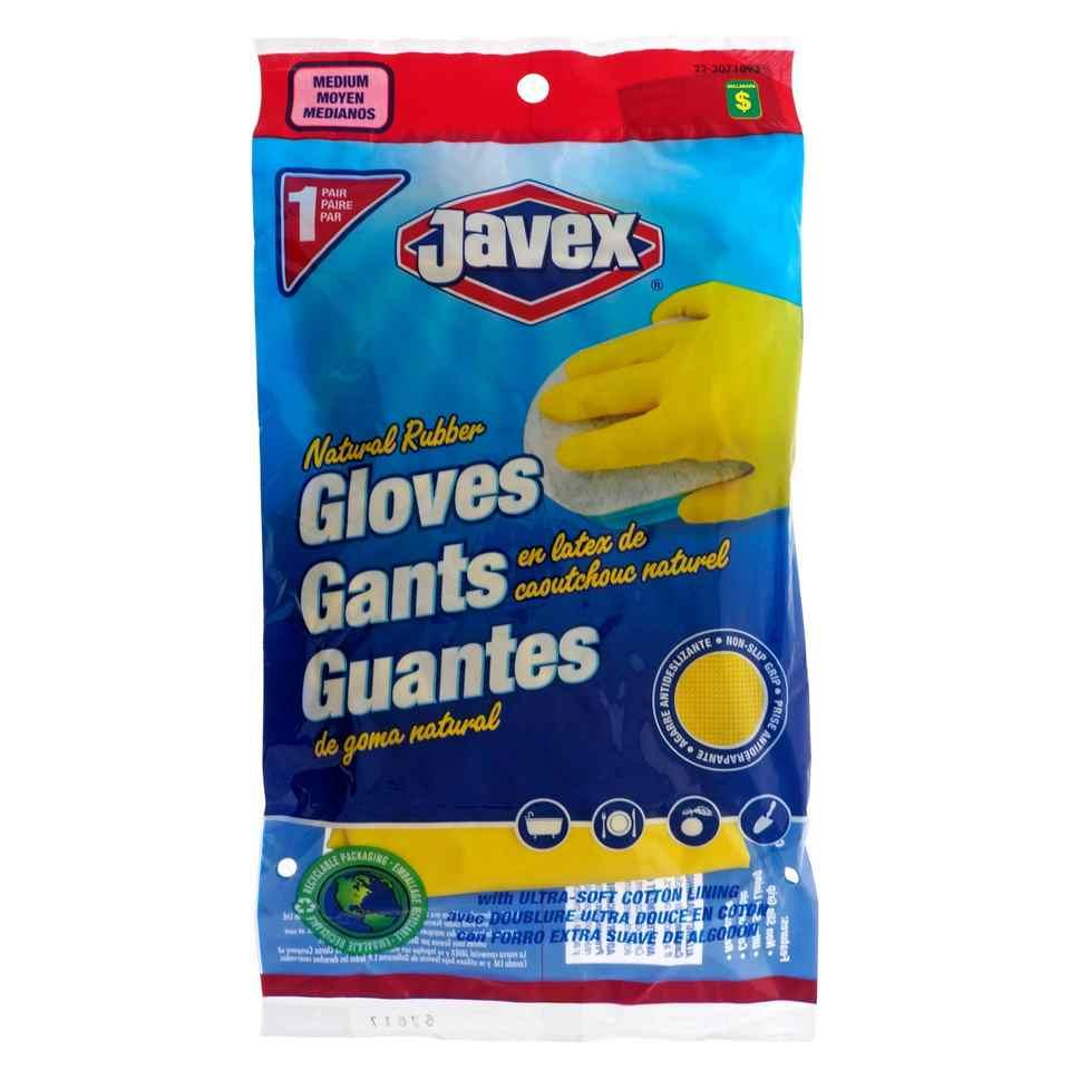1 Pair Natural Rubber Dish Gloves, Medium