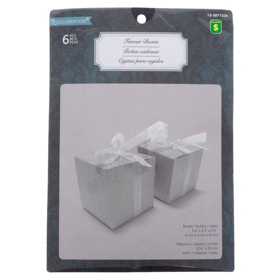 6PK Wedding Embedded Glitter Favour Box
