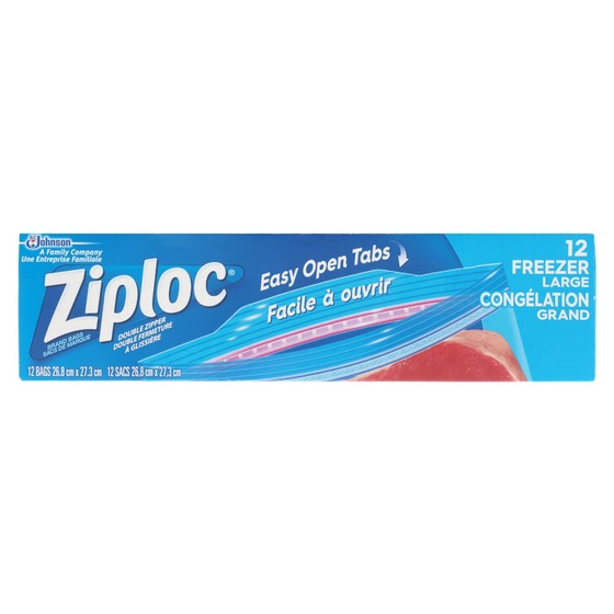12 Ziploc Large Freezer Bags