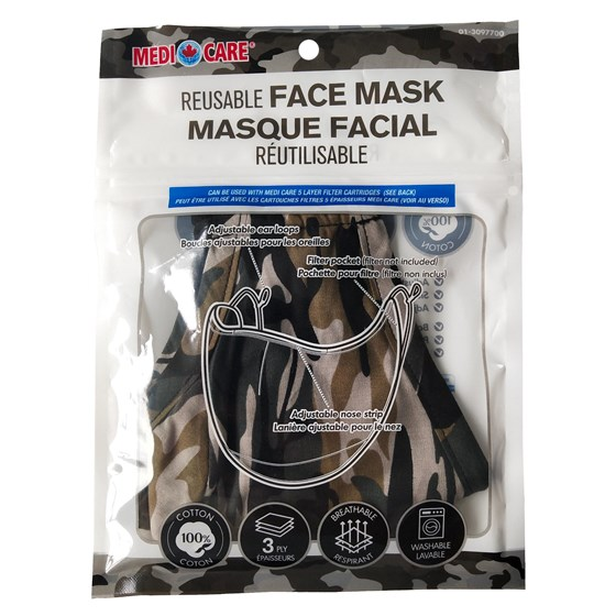 Large Adult Cotton Protective Mask - Camo