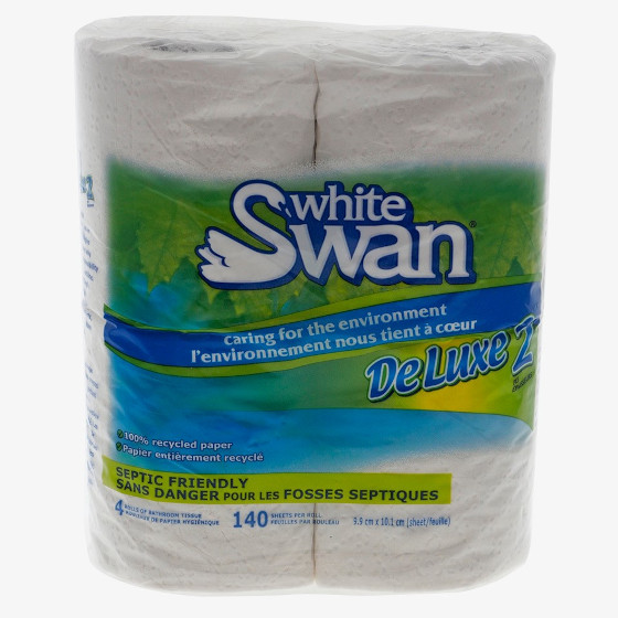 4 Rolls of White Swan Bathroom Tissue